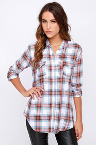 O'Neill Teagan Ivory Plaid Button-Up Top at Lulus.com!