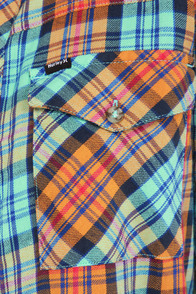 Hurley Wilson Orange and Aqua Plaid Flannel Top at Lulus.com!