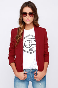 All In a Day's Work Wine Red Blazer at Lulus.com!