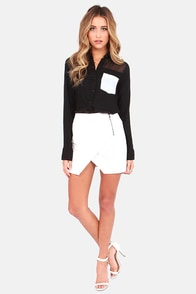 Sexy Black Top Button Up Top Cutout Top 45 00