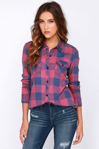 O'Neill Birdie Navy Blue and Fuchsia Plaid Button-Up Top at Lulus.com!