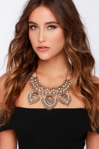 Mesmer-Eyes On Me Gold Rhinestone Statement Necklace at Lulus.com!