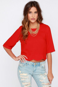 Scallop Your Game Red Crop Top at Lulus.com!