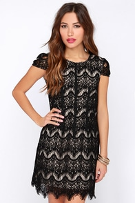 Soiree It Again Black Lace Dress at Lulus.com!