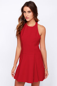 Cameo Folding Shadows Red Dress at Lulus.com!
