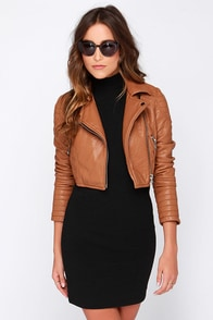 Glamorous Talk It Up Tan Vegan Leather Moto Jacket at Lulus.com!