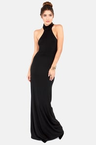 Elevate Her Backless Black Maxi Dress at Lulus.com!