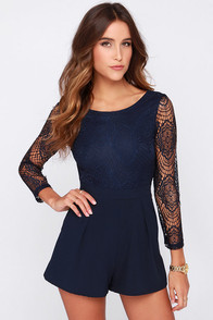 Tell Me Something Navy Blue Lace Romper at Lulus.com!