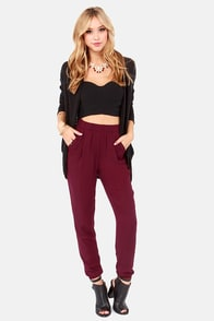 cool burgundy pants harem pants highwaisted pants