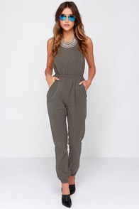 Glamorous Venice Boardwalk Olive Green Jumpsuit at Lulus.com!