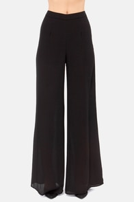 Dearest Pen Palazzo Black Wide-Leg Pants at Lulus.com!