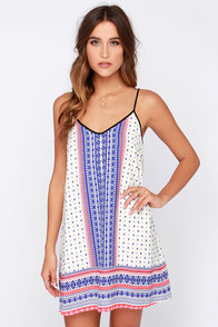 Catch a Glimpse Cream and Blue Print Dress at Lulus.com!