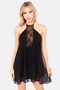 Goodness Laces! Black Halter Dress at Lulus.com!