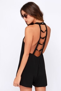 Lucy Love Ladderback Black Romper at Lulus.com!