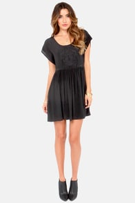 Mink Pink Counting Stars Embroidered Black Dress at Lulus.com!