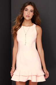 Keepsake Borderline Light Peach Dress at Lulus.com!