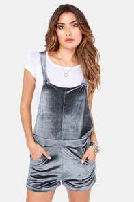 Mink Pink Troublemaker Grey Velvet Short Overalls at Lulus.com!