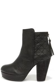 Steve Madden Roadruna Black Leather High Heel Boots