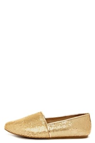 Steve Madden Gate Gold Mesh Sequin Loafer Flats