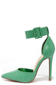 I Need a Heel-o Green Pointed Ankle Strap Heels at Lulus.com!