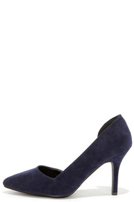 Cut Away We Go Navy Blue Suede D'Orsay Pumps