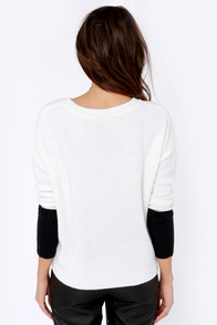 Get a Zip Black and Ivory Sweater at Lulus.com!