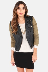 Truly Unruly Khaki and Black Vegan Leather Jacket at Lulus.com!