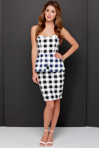 Finders Keepers Mad House Blue and Black Checkered Dress at Lulus.com!