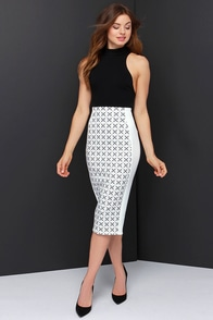The Fifth Label Go Outside Ivory and Black Print Midi Skirt at Lulus.com!