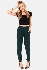 Harem Shake Hunter Green Harem Pants at Lulus.com!