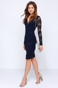 Lace Craze Navy Blue Lace Midi Dress at Lulus.com!