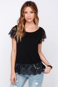 Bat a Lash Black Lace Top at Lulus.com!