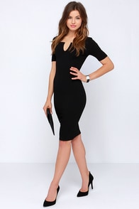 Why Not-ched Black Midi Dress at Lulus.com!