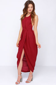 Passion for Fashion Backless Wine Red Maxi Dress at Lulus.com!