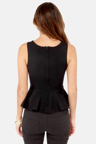 My Kind of Night Black Peplum Top at Lulus.com!