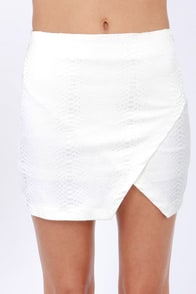 Serpent-er At Your Own Risk Ivory Mini Skirt at Lulus.com!