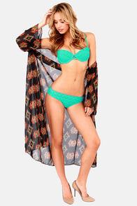 Roxy Bustia Crochet Teal Bustier Bikini at Lulus.com!