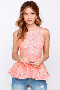 Pleased to Chic You Bright Peach Lace Peplum Top at Lulus.com!