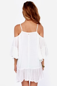 Roxy Beach Dreamer Off-the-Shoulder Ivory Dress at Lulus.com!