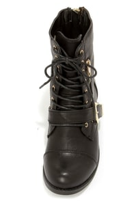 Bamboo Dacia 03 Black and Gold Lace-Up Boots at Lulus.com!