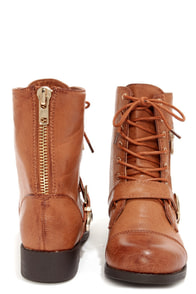 Bamboo Dacia 03 Chestnut and Gold Lace-Up Boots at Lulus.com!