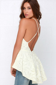Pleased to Chic You Cream Lace Peplum Top at Lulus.com!