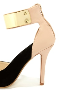 Anne Michelle Momentum 41 Black and Nude D'orsay Heels at Lulus.com!