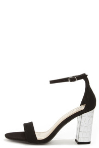 Bamboo Kendria 01 Black and Silver Ankle Strap Dress Sandals at Lulus.com!