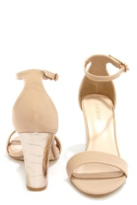 Bamboo Kendria 01 Nude and Rose Gold Ankle Strap Dress Sandals at Lulus.com!