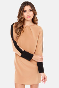 Shift Into Gear Black and Brown Shift Dress at Lulus.com!