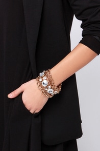 Third Rock from the Sun Gold Rhinestone Bracelet at Lulus.com!