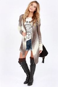 Give Me an Ombre-k Ivory and Taupe Cardigan Sweater at Lulus.com!