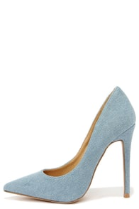 Lean and Jean Blue Denim Pointed Pumps at Lulus.com!