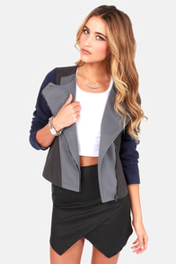 Lavand Editor-in-Chic Navy Blue and Grey Jacket at Lulus.com!